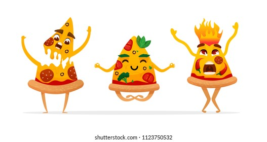 Funny Cartoon pizza characters.  Vegan. hot.  pizza slice. fast food characters. vector illustration isolated on white background.