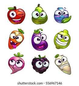 Funny cartoon plant characters set. Vector fruit, berry and vegetables comic stickers. Isolated on white.