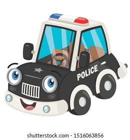 Funny Cartoon Police Car Posing