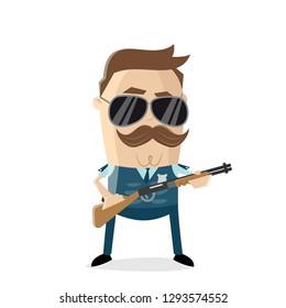 funny cartoon policeman bulletproof vest and shotgun