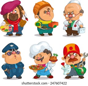 Funny cartoon. Positive characters. Vector illustration professions set. Artist, policeman, chef, doctor, plumber, builder. Isolated objects.