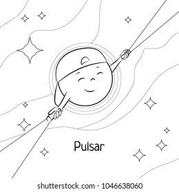 Funny cartoon pulsar. Black and white vector illustration for children's coloring book