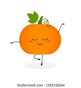 Funny cartoon pumpkin dancing ballet. Vector flat illustration isolated on white background