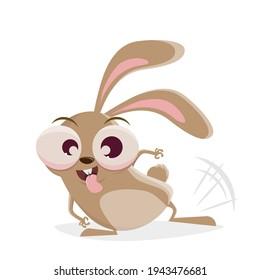 funny cartoon rabbit beating with leg to flirt