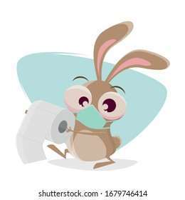 funny cartoon rabbit with breathing mask is bringing toilet paper as present
