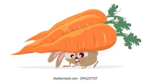 funny cartoon rabbit carrying big carrots