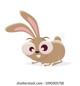 funny cartoon rabbit is crounching