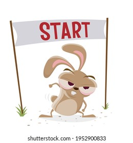 funny cartoon rabbit is ready to start