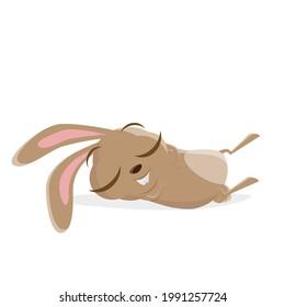funny cartoon rabbit is sleeping