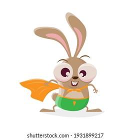 funny cartoon rabbit in superhero costume