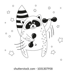 Funny cartoon raccoon exercising with dumbbells. Black and white vector illustration.