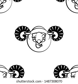 Funny cartoon ram character. Seamless pattern. Design template for wallpaper,wrapping, textile. Black-white animal head. Vector Illustration
