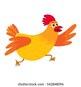 Funny cartoon red and orange chicken, hen rushing, hurrying somewhere, cartoon vector illustration isolated on white background. Cute and funny colorful chicken running somewhere enthusiastically
