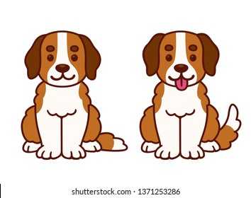 Funny cartoon Saint Bernard puppy sitting with tongue sticking out. Cute dog drawing, isolated vector clip art illustration.