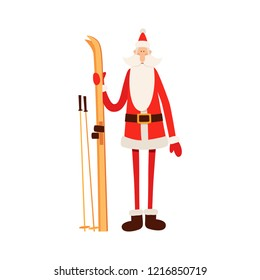 Funny cartoon Santa Claus is standing with skis isolated on white background. Christmas color vector illustration in flat style. Perfect for Christmas and New Year cards, gift tags, posters.
