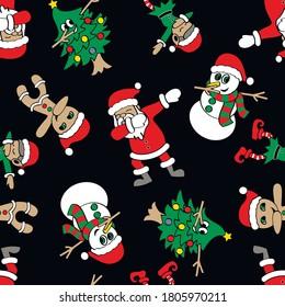 Funny cartoon Santa, Cristmas tree, elf, snowman and cookies make DAB move, dancing hip hop style. Christmas seamless pattern. Vector illustration