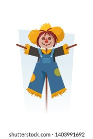 Funny Cartoon Scarecrow. Vector Illustration