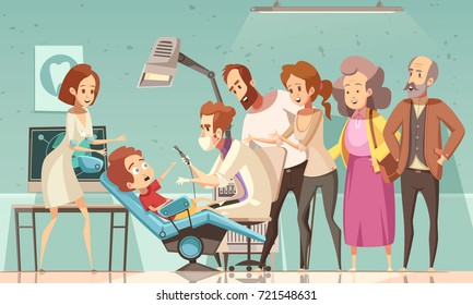 Funny cartoon scene in dentist office with doctor nurse baby in armchair his parents and grandparents vector illustration