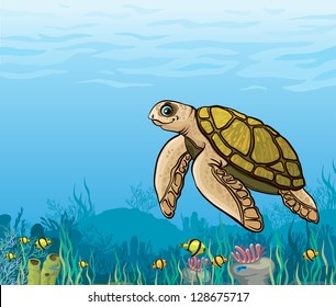 Funny cartoon sea turtle and coral reef with yellow fish. Underwater life.