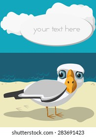 Funny cartoon seagull standing on the seashore. Space for your text. Card.