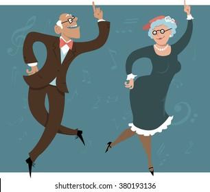 Funny cartoon senior couple dancing, EPS 8 vector illustration