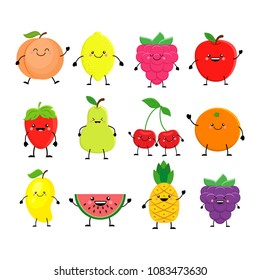 Funny cartoon set of different fruits. Smiling peach, lemon, mango, watermelon, cherry, apple, pineapple, raspberry, strawberry, orange.  Vector illustration isolated on white background.