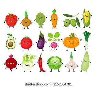 Funny cartoon set of different vegetables. Kawaii vegetables.  Smiling pumpkin, carrot, eggplant, bell pepper, tomato, avocado, artichoke, cabbage, fennel, onion, garlic. Vector illustration