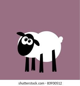 Funny cartoon sheep staring, vector illustration