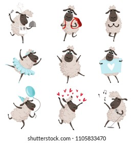 Funny cartoon sheeps in various action poses. Lamb mascot animal, character mammal adorable. Vector illustration
