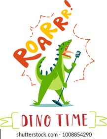 Funny cartoon singing dinosaur. Isolated on white background. Design for kids t-shirt.