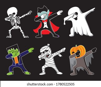 Funny cartoon skeleton, Dracula, Ghost, Frankenstein, mummy and pumpkin make DAB move, dancing hip hop style. Halloween vector illustration.