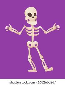 Funny cartoon skeleton spreads his hands. Vector