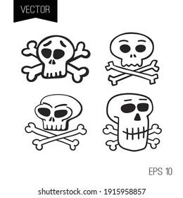 Funny cartoon skulls and crossbones vector set. Icon or logo or tiny tattoo.