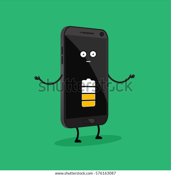Funny Cartoon Smartphone Half Charged Battery Stock Vector Royalty Free 576163087