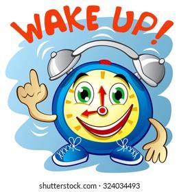 Funny cartoon smiling blue alarm clock, EPS 10 vector