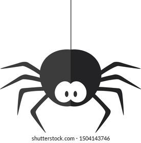 Funny cartoon spider. Flat illustration