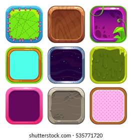 Funny cartoon square frames for app icons design. GUI assets, isolated on white. Game elements set.