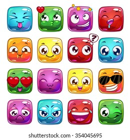 Funny cartoon square jelly characters, vector emoticon icons, isolated on white