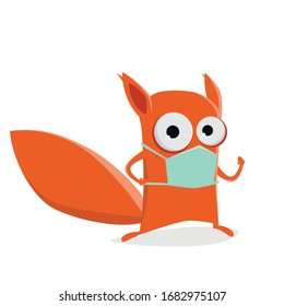 funny cartoon squirrel with breathing mask