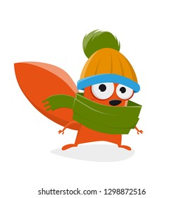 funny cartoon squirrel with hat and scarf