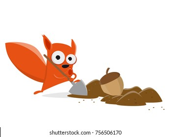 funny cartoon squirrel hiding a nut clipart