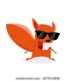 funny cartoon squirrel with sunglasses