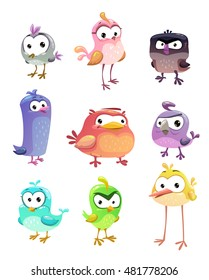Funny cartoon standing birds set on white background. Vector cute comic bird characters.