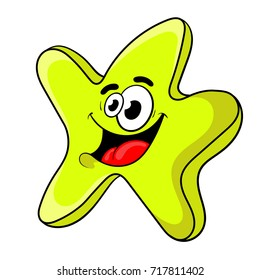 funny cartoon star . the design of the character. vector illustration.