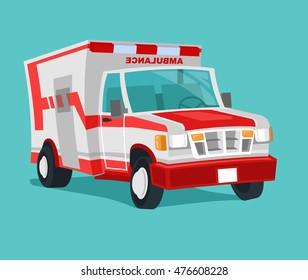 Funny cartoon Style Ambulance