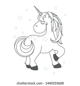 Funny cartoon style happy and cute unicorn. Outlined vector illustration. Useful for your designs, print, poster, coloring book, sticker, banner, tatoo, decoration.