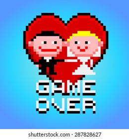 Funny cartoon style married couple with heart and game over text banner