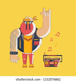 Funny cartoon style vector illuxtration character of old-style biker listening rock music with boombox