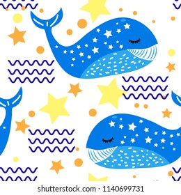 Funny cartoon style whale seamless pattern. Decorative element for textile and fabric print, background, poster, backdrop, mobile telephone cover, wallpaper, wrapping paper.
