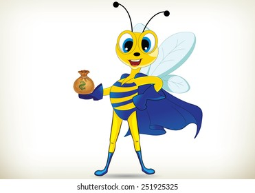 Funny cartoon super hero bee holding money bag